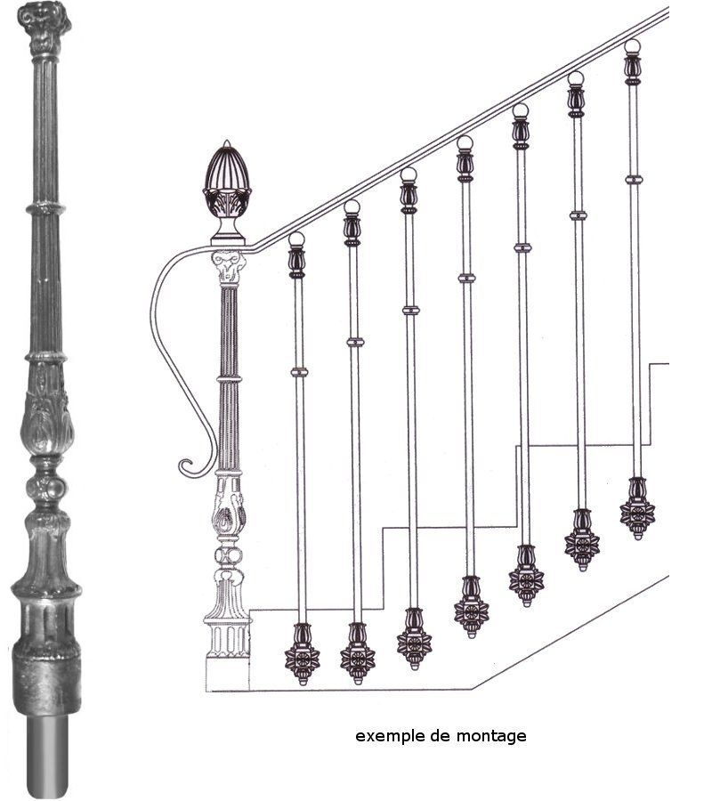 poteau de d part en fonte pour d part d 39 escalier en fer forg en fonte ferronnerie la forge