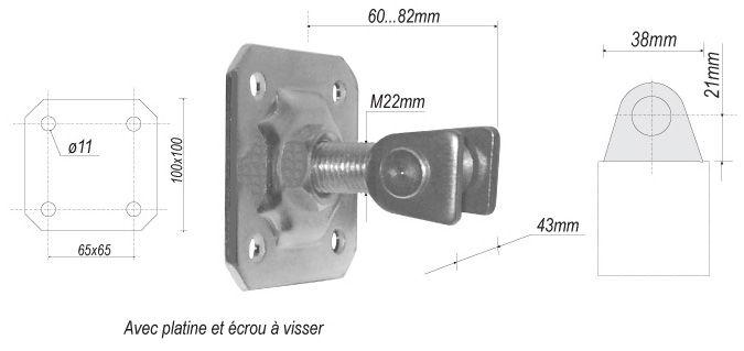 gond r glable avec platine hauteur 60mm pour portail en fer forg en acier ferronnerie la. Black Bedroom Furniture Sets. Home Design Ideas