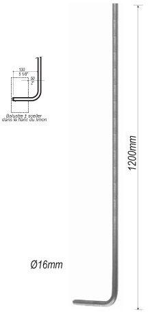 balustre en fer forg coud diam tre 16 mm pour escalier. Black Bedroom Furniture Sets. Home Design Ideas