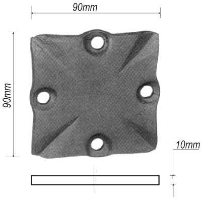 plaque de fixation pour poteau de d part en fer forge en acier ferronnerie la forge bertrand. Black Bedroom Furniture Sets. Home Design Ideas
